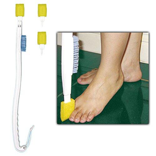Zehenwascher, Fußbürste mit Bürstenkopf und Schwamm, Kosmetex Alltagshilfe 68 cm zur Fußhygiene, Fußwäsche