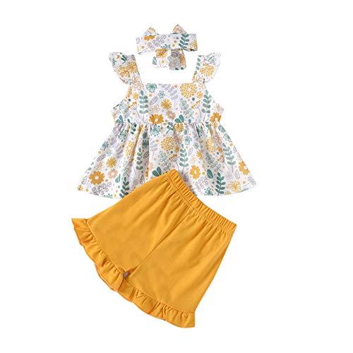 Kobay Baby Kinder Mädchen Ärmellose Schleife Blume Druck Tops + Shorts + Stirnband Set Outfit