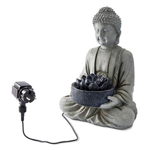 Gartenbrunnen Buddha mit Lotusblüte und LED Beleuchtung - 38 x 26 x 50 cm - hochwertige Nachbildung aus Polyresin - IP44 für den Garten - Wasserspiel Feng Shui Zen Springbrunnen, esotec 101452