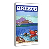 Póster vintage de viaje de Grecia, montaña retro de Grecia, costa de pesca, lienzo para pared, decoración de pared, marco de 40 x 60 cm