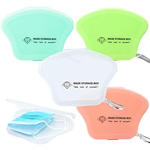 AMZBY Maskenbox 4 Stück Tragbare Masken Aufbewahrungsbox Masken-Aufbewahrungstasche Maskenbox für Mundschutz 4 Farben (Rosa, Grün, Transparentes Weiß, Leuchtendes Grün)