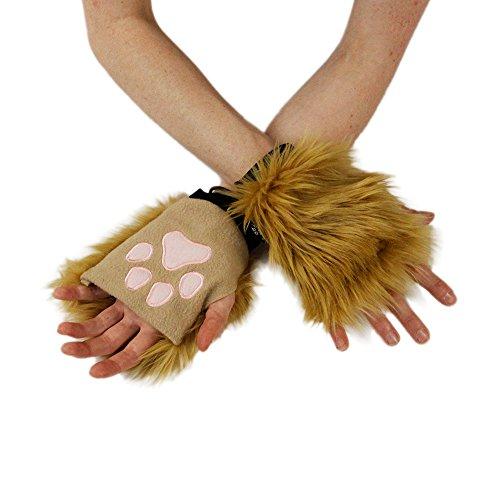 Pawstar Classic Pawlets Fingerless Glove Paws Furry Cat Fox Cosplay - Butterscotch