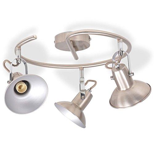 vidaXL Plafondlamp voor 3 Peertjes E14 Zilver Verlichting Lamp Plafond Lampen