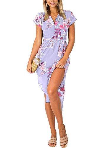 Yoins, Abito estivo da donna, lungo, con scollo a V, maxi-abito, abito da spiaggia Fiori - lilla M
