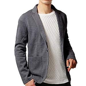 KMAZN メンズ テーラードジャケット カジュアル トップス 無地 長袖 キレイめ ジャケット ファッションスーツ (ダークグレー, L)