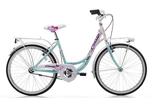 Cicli Cinzia Bicicletta 24' Citybike Liberty per Bimba, Senza Cambio, V-Brake Alluminio, Acqua Marina/Bianco, Acquamarina