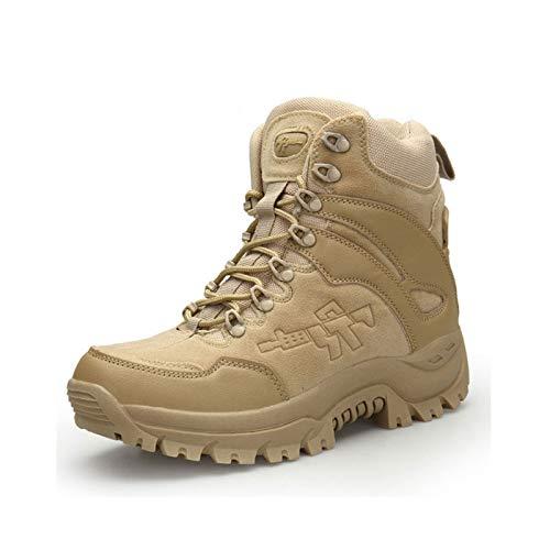 Botas Tácticas Militares De Combate para Hombres Ejército Caza Senderismo Camping Montañismo Zapatos De Invierno + Plantillas,Beige-39