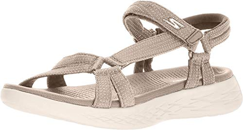 Skechers Performance Women's on-the-Go 600-Brilliancy Wide Sport Sandal, natural, 9 W US