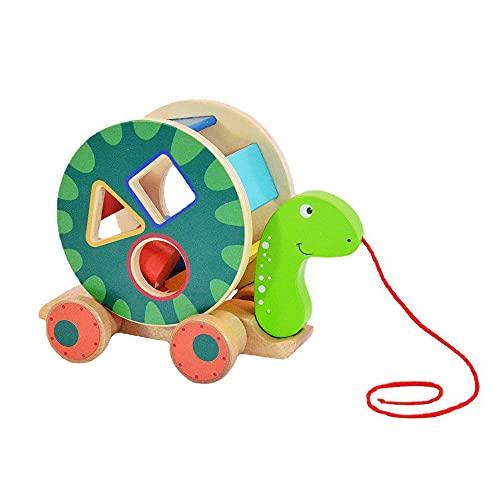 Juguete para tirar de madera con forma extraíble y colorida, juguete educativo divertido para bebés de 1, 2 o 3 años