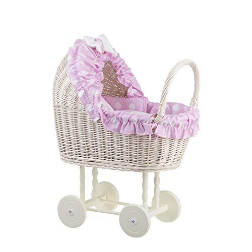 e-wicker24 EIN Wagen, EIN Bett für Puppen aus Weide, Spielzeug aus Weide, Puppenwagen aus Weide, Korbpuppenwagen, Weidenwagen in Beige