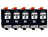 5 Cartuchos de Tinta con viruta Compatible con HP 920 XL / CD975AE (Negro) para HP OfficeJet 6000 6500 6500-A 6500-A Plus 7000 7500-A