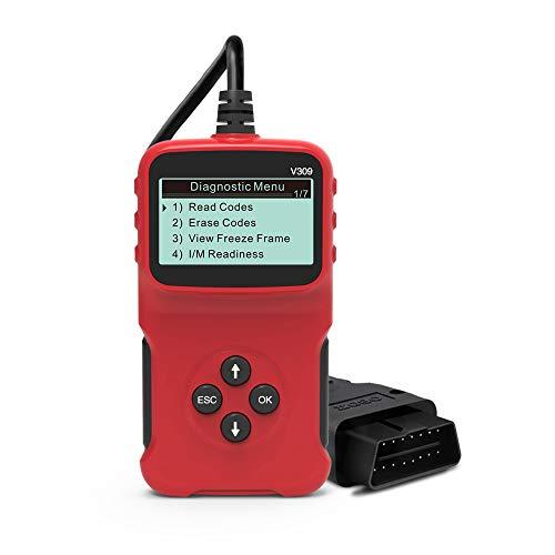 KKmoon Escáner OBD2 Lector de códigos OBDII, OBD2 Diagnóstico Lectura y Borrado de Códigos de Fallo,Herramienta de diagnóstico para Todos los vehículos 1996 y más nuevos compatibles con OBDII V309