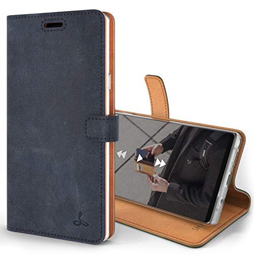 Snakehive Note 9 Handy Schutzhülle/Klapphülle echt Lederhülle mit Standfunktion, Handmade in Europa für Note 9 - (Marine Blau)