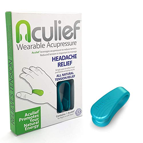 Aculief Wearable Acupressure Provides All Natural Tension Relief Using The LI4 Acupressure Point - Single Pack (Aculief - Teal)