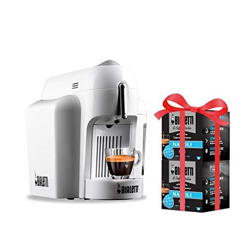 Bialetti Mini Macchina Espresso Alluminio Sistema caffè d'Italia, White + 32 Capsule Omaggio, 1200 W, Bianco