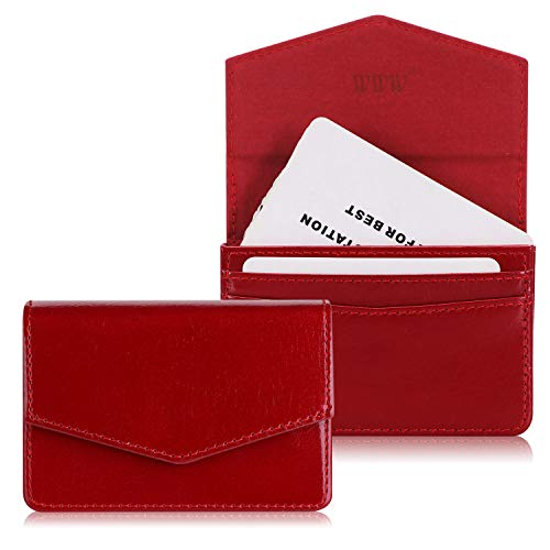 WWW Genuine Leather Business Card Holder Business Card Case with Magnetic Shut for Men & Women, Holds 30 Business Cards Wine Red