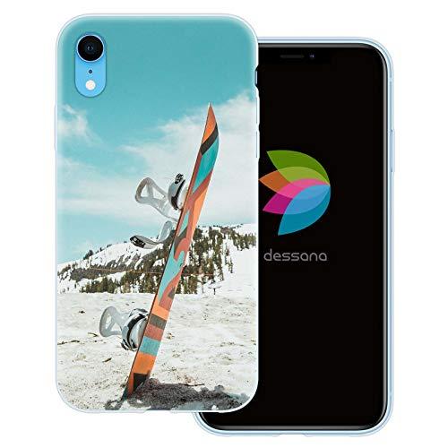 dessana Winter Sport transparente Schutzhülle Handy Case Cover Tasche für Apple iPhone XR Snowboard