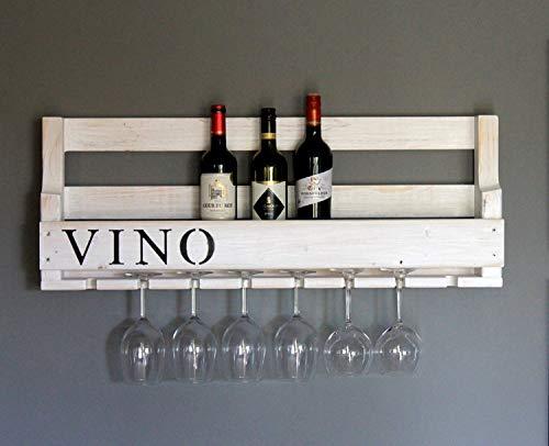 Dekorie Hochwertiges Weinregal aus Holz - mit Gläserhalter für 8 Gläser - Weiß mit VINO Schriftzug - fertig montiert