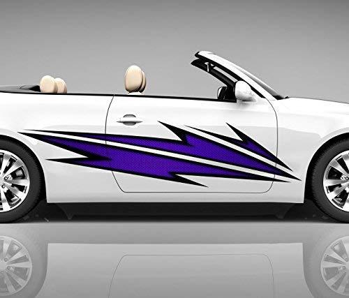 2x Seitendekor 3D Autoaufkleber Blitze lila Digitaldruck Seite Auto Tuning bunt Aufkleber Seitenstreifen Airbrush Racing Autofolie Car Wrapping Tribal Seitentribal CW147, Größe Seiten LxB:ca. 160x40cm