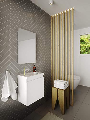 Allibert Badmöbel Set Unterschrank 40 cm Waschtisch Spiegel vormontiert grifflos
