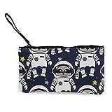 Monedero de lona para mujer y niña, monedero pequeño, bolsa de maquillaje espacial, mapache astronauta