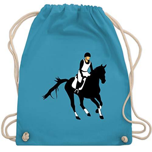 Shirtracer Pferde & Reiten Kind - Vielseitigkeitsreiten - Unisize - Hellblau - reitsport - WM110 - Turnbeutel und Stoffbeutel aus Baumwolle
