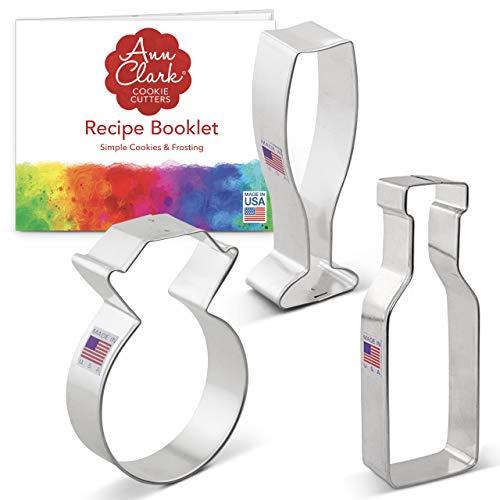 Ann Clark Cookie Cutters Juego de 3 cortadores de galletas boda/compromiso con libro de recetas, sortija de diamantes, copa y botella de champán o vino