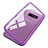 Woskko Galaxy S10e Magnet Case, Magnetic Adsorption Flip Tempered Glass Back Cover (Clear Purple)