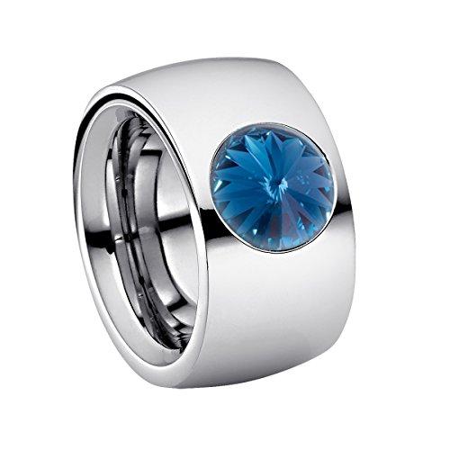 Heideman Ring Damen Coma 14 aus Edelstahl Silber farbend poliert Damenring für Frauen mit Swarovski Stein Kristall dunkel blau im Fantasie Edelsteinschliff 10mm