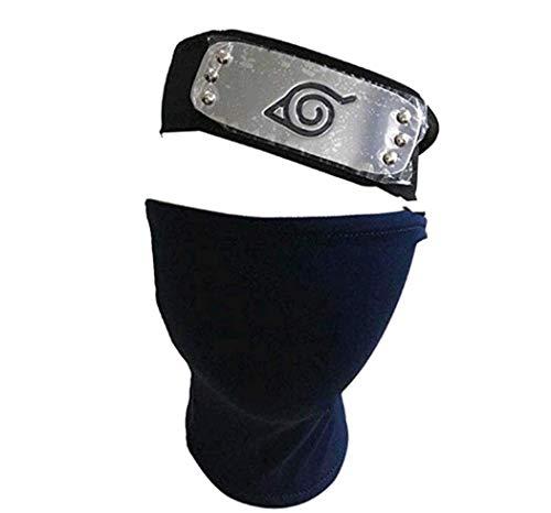 Leaf Village Shinobi Kopfband und Unisex Hatake Kakashi Cosplay Maske Kopfband Spielzeug für Anime Cosplay Zubehör (blau)