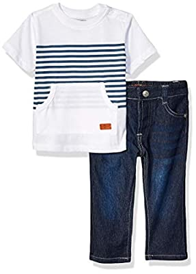 7 For All Mankind Baby Boys 2 Piece Set, el Bright White, 18M