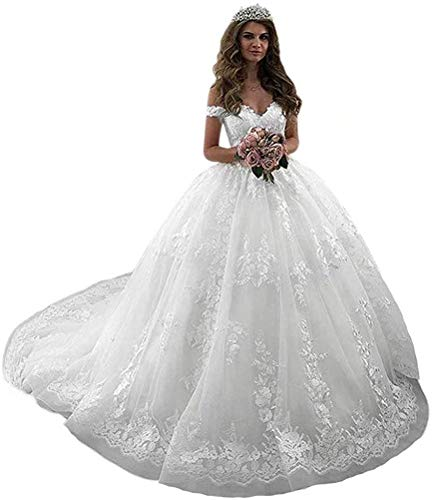 Clothfun Women's Off Shoulder Lace Princess Wedding Dresses for Bride 2020 Long Bridal Gowns with Train Ivory 16