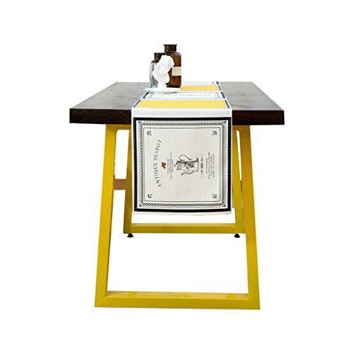 Einfache Baumwolle & Leinen Tisch Flagge Pastoralen Dorf Kleine Frische Couchtisch Western Tischdecke Dekoration (Size : Yellow-34 * 175cm)