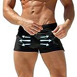 WANGXINQUAN Trajes Hombre Atractivo del Traje de baño de los Hombres de Trajes de baño Bañador Sunga Caliente for Hombre Sunga Beach Shorts de baño (Color : Negro, Size : XL)