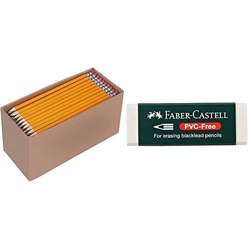 Amazon Basics - Holzgefasste Bleistifte, HB, vorgespitzt, 30er-Pack & Faber-Castell 188121 - Radierer 7081 N PVC-Free, Kunststoff, weiß