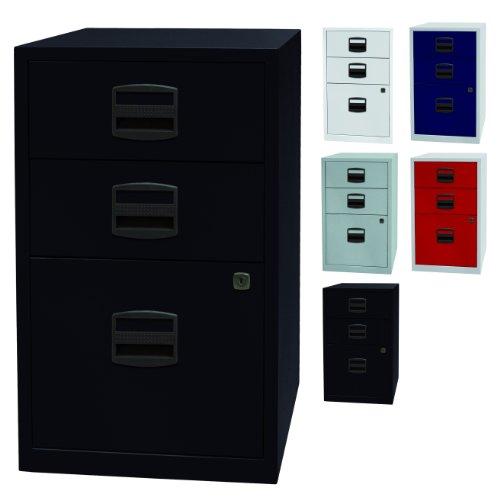 PFA bijzetkast | kantoor ladekast met 3 laden van metaal - afsluitbaar | 5 kleuren (zwart)