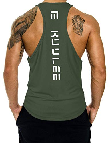 KUULEE Herren Gym Stringer Fitness Tank Top Herren Funktionelle Sport Bekleidung Bodybuilding T-Shirt Trainingsshirt ärmellos Weste Muskelshirt (Verpackung MEHRWEG), Grün, L / 38