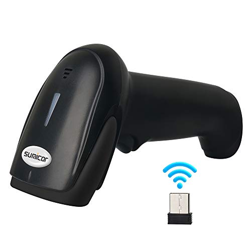 Sumicor Wireless Bluetooth Barcode Scanner 1D Handheld Cordless Scanner Automatic Bar Code Reader with Mini USB Receiver for Supermarket, Store, Inventory Management, Black Bar Code Scanners