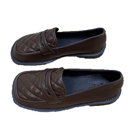 Zapatos de Cuero para Mujer, Mocasines con patrón de cuadrícula de Punta Cuadrada de Color sólido, Zapatos de Oficina Conaise Bajos y Planos británicos