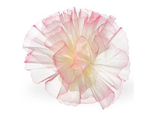 Unbekannt Tüllkreis Creme, schattierter Rand rosa, 50 Stück, Tüll Bonboniere Gastgeschenk
