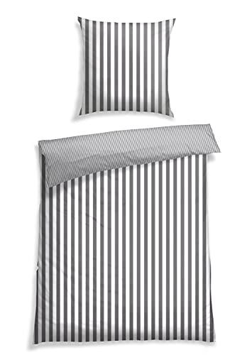 Schiesser Bettwäsche Renforcé,Pure Elegance\', Farbe:grau-weiß gestreift, Größe:135 cm x 200 cm