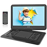 WONNIE 17,5'' Lecteur DVD Portable avec écran de Rotation de 15,6 Pouces 1366x768 HD, Batterie 5600mAh 6 Heures, Son Stéréo, sans Régions, USB & SD/AV Out & in (Noir)