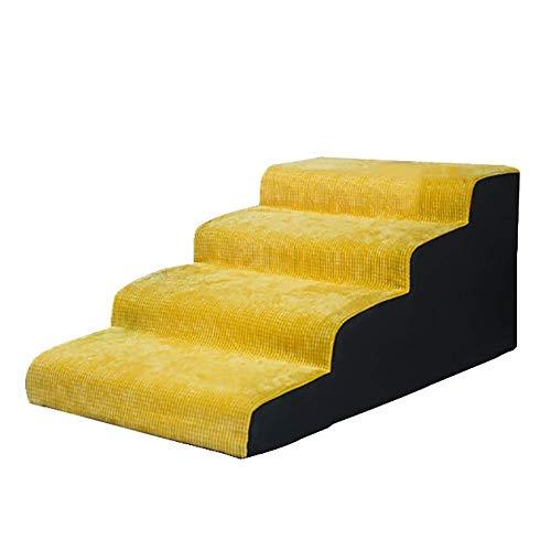 Treppen & Stufen für Hunde Tragbare Hundekatzentreppenrampe für Haustierbettsofas, rutschfeste Easy 4-Steps-Leiter mit abnehmbarem Bezug, bis zu 30 kg, gelb (Size : 90×50×45cm)