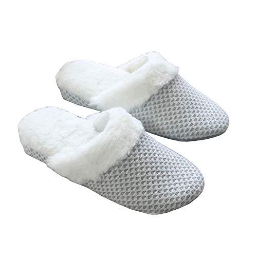Spaufu Zapatillas de Invierno Felpa de Cuña para Mujer de Estar por Casa Zapatillas de Pareja Acolchadas de Algodón Cómodas Suave Antideslizante