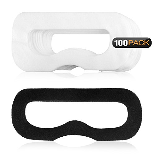 Geekria 100Pcs Disposable Face Cover and 1 Pcs Magic Stick Compatible with HTC Vive Virtual Reality / White Eye for PlayStation VR / Soft Breathable Non-Woven Fabrics for Headset VR