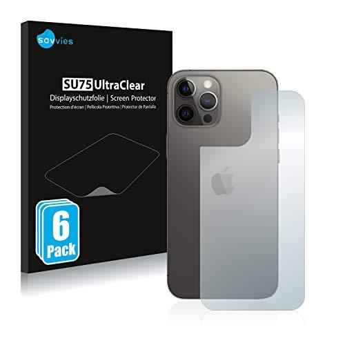 savvies Protector Pantalla Compatible con Apple iPhone 12 Pro MAX (Trasero) (6 Unidades) Pelicula Ultra Transparente