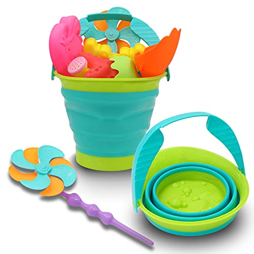 12 PCS Kids Beach Sand Toys Set - Includes Beach Shovel Kit, Sand Sieve, Marine Animal Molds, Mermaid Mold, Sand Bucket, Watering Can, & Windmill - Non-Toxic Sandbox Toys for Toddlers