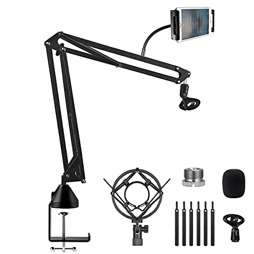Mikrofonarm Ständer, Orthland Einstellbare Faltbare Mikrofon Halterung mit Telefonhalter Adapter, Schwingungsdämpfe Mikrofon ständer für Live-Stream Radio Bühnen