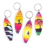 Baker Ross Portachiavi in plastica con tavola da surf (confezione da 8) - Tavola da surf colorata per bambini, da attaccare a portachiavi e borse