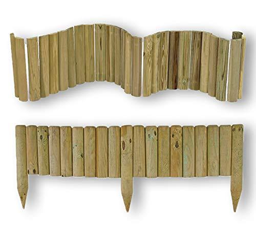 """CF da 1PZ Bordura per aiuole""""Flessibile"""" Ø 5 CM 250X40 H   in legno di pino IMPREGNATO da esterno per fioriere giardini aiuola CARTOMATICA"""